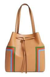 Tory Burch Block T Stripe Leather Drawstring Tote