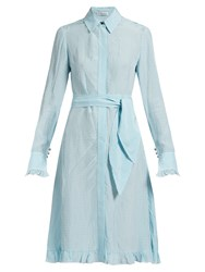 Altuzarra Laguna Checked Dress Light Blue