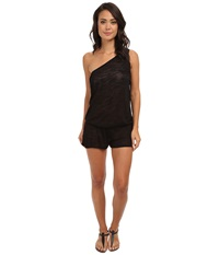 Vitamin A Swimwear Lola One Shoulder Romper Cover Up Black Shantung Women's Jumpsuit And Rompers One Piece