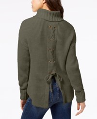American Rag Juniors  Lace Up Turtleneck Sweater Created For Macy s Dusty  Olive 124e6f0de