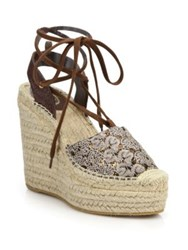 Ash Tessa Bis Lace Up Espadrille Wedge Sandals Black Gold