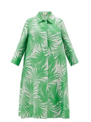 Sara Battaglia Palm Leaf Jacquard Cocoon Coat Green White