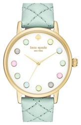 Women's Kate Spade New York 'Metro Rainbow' Leather Strap Watch 38Mm Frosted Mint White