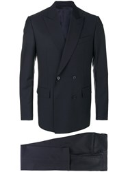 Versace Double Breasted Suit Wool Mohair Viscose Cotton Blue