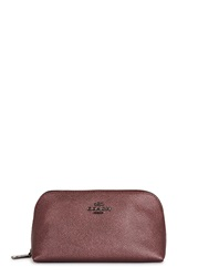 Coach Metallic Dark Red Leather Cosmetics Case