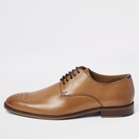 River Island Tan Leather Lace Up Sprayed Toe Derby Shoes