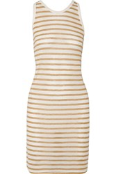 Alexander Wang Striped Jersey Dress Brown