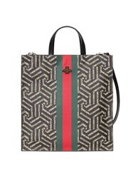 Gucci Soft Gg Caleido Web Tote Women Leather Canvas Microfibre One Size Black