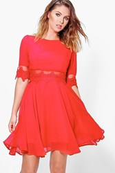 Boohoo Lace And Mesh Insert Skater Dress Berry