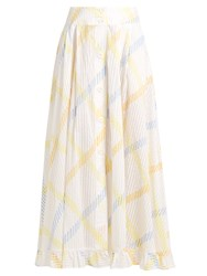 Thierry Colson Romane Stripe Print Cotton Voile Skirt Yellow Multi
