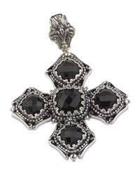 Konstantino Beaded Silver And Onyx Cross Pendant Enhancer Black