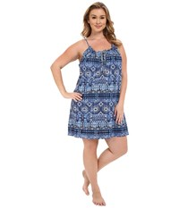 Lucky Brand Plus Size Knit Tassel Chemise Persian Holiday Women's Pajama Blue