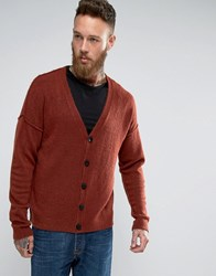 Asos Cardigan In Relaxed Fit With Burst Seams Rust Brown