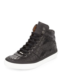 Jimmy Choo Belgravia Crocodile Embossed High Top Sneaker Black