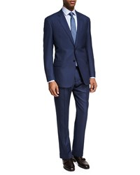 Armani Collezioni Pinstripe Wool Two Piece Suit Bright Blue