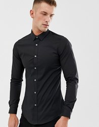 French Connection Plain Poplin Skinny Fit Stretch Shirt Black