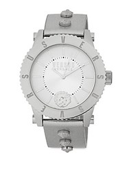 Versus By Versace Studded Stainless Steel Leather Strap Watch Silver