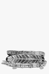 Boohoo Mixed Charm Braided Bracelet Pack Silver