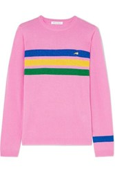 Bella Freud Daytona Sparkle Metallic Striped Cashmere Blend Sweater Pink