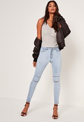 Missguided Light Blue Highwaisted Double Slash Skinny Jeans