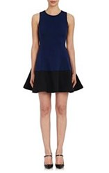 Lisa Perry Colorblocked Wow Fit And Flare Dress Blue