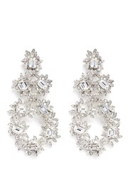 Kenneth Jay Lane Glass Crystal Flower Drop Clip Earrings Metallic