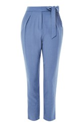 Topshop Tapered Peg Trousers Chambray