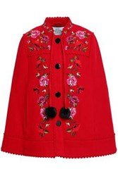 Kate Spade Scalloped Embroidered Wool Blend Cape Red
