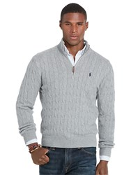 Polo Ralph Lauren Long Sleeve Cable Half Zip Jumper Fawn Grey Heather