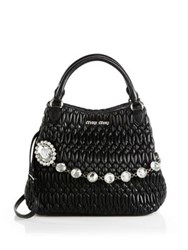 Miu Miu Nappa Crystal Matelasse Leather Tote Bianco White Nero Black