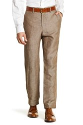 Louis Raphael Solid Straight Fit Flat Front Pant 30 34 Inseam Beige
