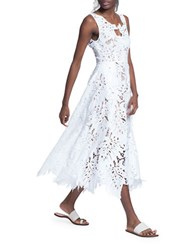 Tracy Reese Leaf Edged A Line Dress White