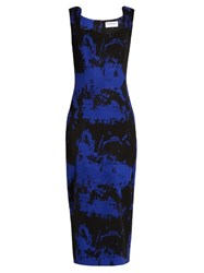 Osman Eve Wool Blend Crepe Dress Blue Multi