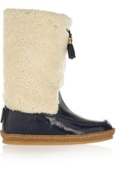Tory Burch Lenore Shearling And Patent Leather Boots Navy