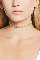 Forever 21 Floral Chain Link Choker Gold