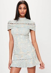 Missguided Blue Lace Button Detail Frill Hem Dress Grey