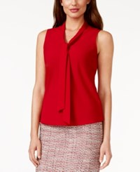 Kasper Sleeveless Tie Neck Solid Blouse Fire Red