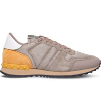 Valentino Mesh Combo Suede Low Top Trainers Beige