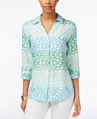 Charter Club Ombre Printed Linen Shirt Only At Macy's Paris Green