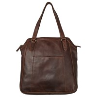 Fat Face Tilly Oiled Leather Tote Bag Chocolate