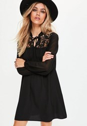 Missguided Black Lace Detail Swing Dress