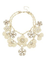 Miriam Haskell Vintage Pearl White Flower Crystal And Faux Pearl Drama Bib Necklace