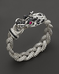 John Hardy Sterling Silver Naga Medium Braided Chain Dragon Head Bracelet With African Ruby And Black Sapphire Black Silver