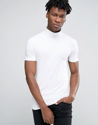 Asos Extreme Muscle T Shirt With Roll Neck In White White