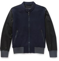 Lanvin Panelled Wool Blend And Cotton Bomber Jacket Blue