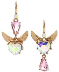 Betsey Johnson Gold Tone Pink And Iridescent Stone Winged Heart Mismatch Earrings