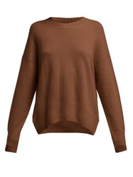 Allude Round Neck Cashmere Sweater Brown