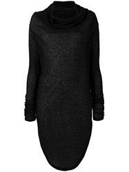 Barbara I Gongini Turtleneck Sweater Dress Women Lyocell Wool 40 Black