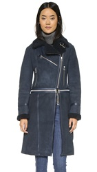 Whistles Hattie Sheepskin Coat Navy