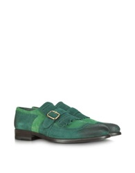 Fratelli Borgioli Green Suede Fringed Monk Strap Shoe